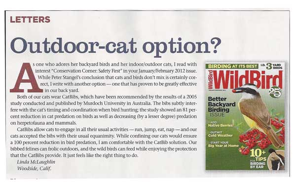 outdoor cat option letter from Linda Mclaughlin and Wildebrid Magazine